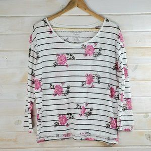 American Eagle Blouse Floral Print Striped